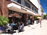 Parents hang with their jogging strollers at Peet's Coffee.