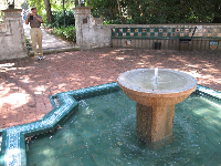Blue-green fountain.