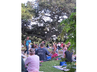 Families gather to hear a free summer concert at Stow House, August 2010.