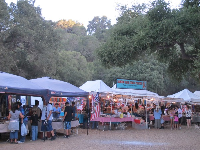 The jewelry and pottery booths at the Chumash Pow Wow held at Live Oak Park.