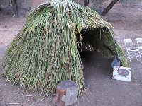 Chumash hut where kids can play and storytelling sessions take place during the day.