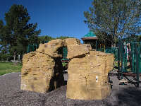 Rock wall at the play area near Goodwin Rd.