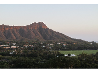 Kapiolani Park sits below the perfect curve of Diamond Head. Shot taken from Park Shore Waikiki Hotel.