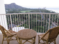 Balcony at Park Shore Waikiki Hotel.