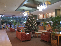 The breezy tropical lobby at Park Shore Waikiki Hotel.