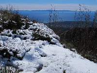 Snow and sea behind.