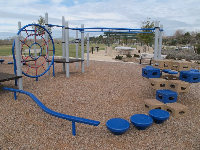 Tight-rope walking bar, stepping stones, and climbing blocks.