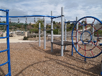 Looking through the playground to the picnic areas which are popular for birthday parties.