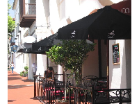 Stop in for coffee at Cafe Zoma, one block up State Street from El Paseo!