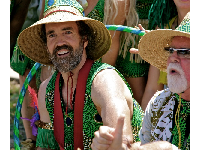 Drummer with a dance troupe in the 2011 Summer Solstice parade. I love his vest! Photo by Arturo G. Vega.