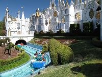 It's a Small World ride! It starts outdoors but most of it takes place inside- a great place to cool down.