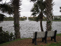 Bench with view of lake fountain.