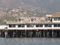 Pelicans on the pier restaurant roofs, as seen from the harbor.