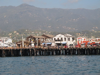 Shops on the pier, as seen by boat.