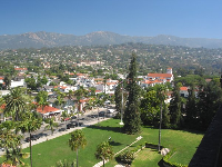 View of the sunken gardens, Santa Barbara's Upper-East side, the Riviera, and the Santa Ynez mountains as seen from the Courthouse tower.
