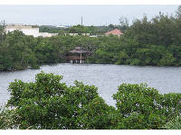 Gazebo on the lagoon, as seen from the observation tower.