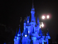 Blue-lit castle. Disney definitely knows how to make things magical!