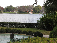 Residential fountain on Morse Blvd with lake in the distance.
