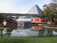 Glass pyramids of Imagination, and fountain, at Epcot.