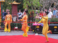 Female acrobats in China, at Epcot.