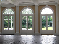 Arched windows of the Pavilion, from the inside.