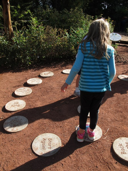 Stepping stone game in the children's garden.