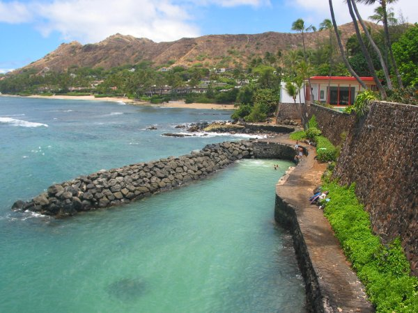 You can swim around the corner to Doris Duke's rock wall, that was built for her yacht.