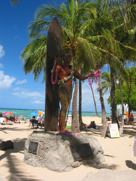 Duke Kahanamoku Statue Beach, Waikiki, Oahu Hawaii