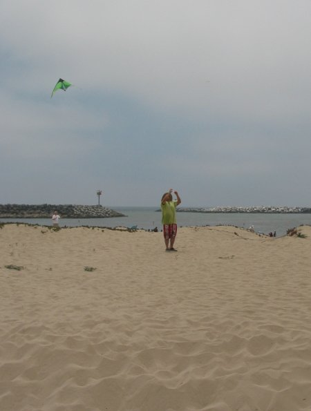 Kite-flying at Harbor Cove Beach.