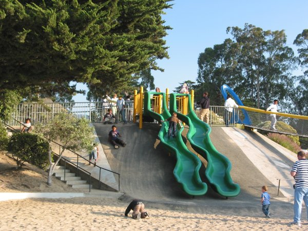 The green curvy slides!