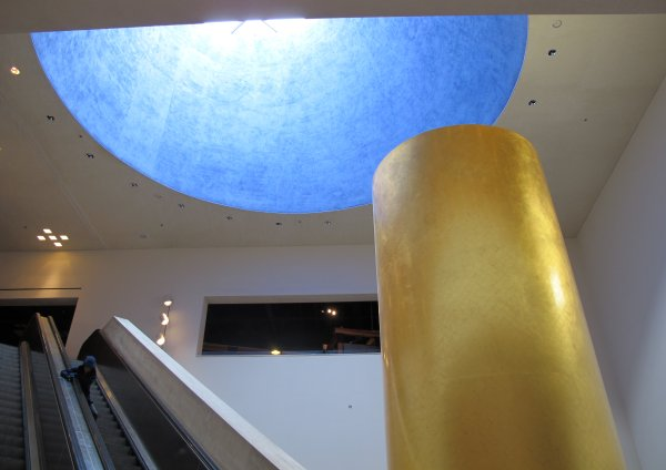 Blue dome and golden pillar.