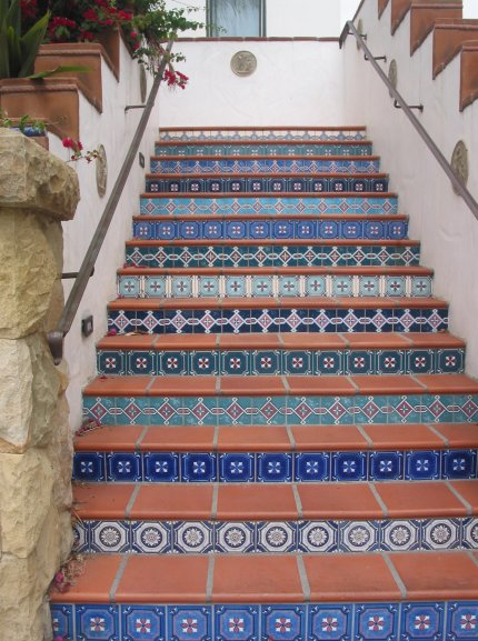 The blue Spanish stairs leading to the Raffour House.
