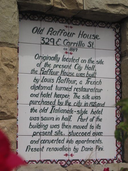 The plaque in front of the Raffour House.