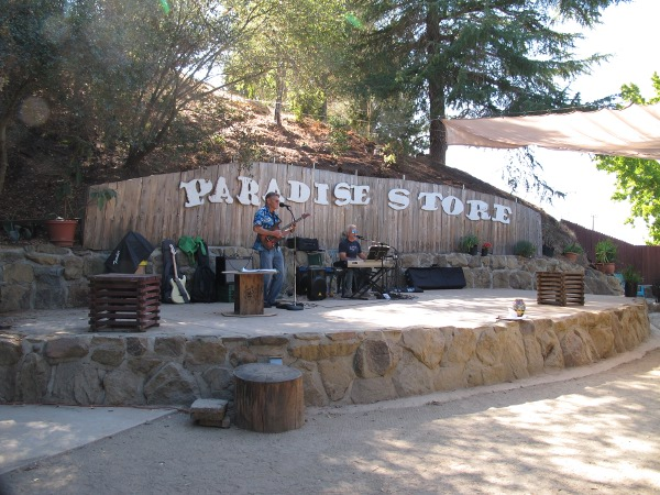 The stage in the back of Paradise Store and Grill.