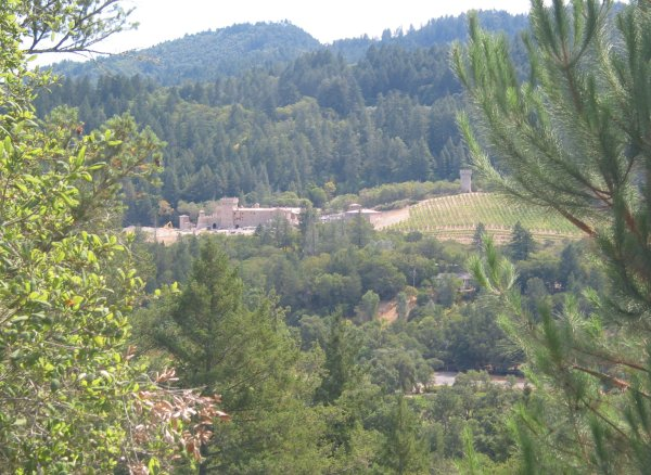 Castle on a hill, as seen from aerial tram ride up to Sterling Winery.