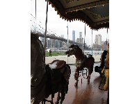 Jane's Carousel, with the Brooklyn Bridge behind.