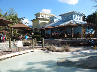 Splash pad and Caribbean architecture.