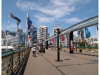 Pyrmont bridge, a pedestrian walkway with monorail, over the harbor.