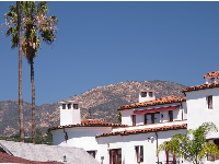 View of Spanish rooftop and mountains from Santa Barbara Street.
