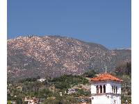 Tower and mountains, as seen from Santa Barbara Street.