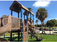 The new playground next to the Loggerhead Cafe in the parking lot by the beach.