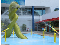 Children love to squirt the giant sea monsters with water guns.