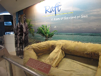 The real raft that three men survived 34 days at sea in.