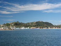 "View of the harbor and ""the mesa"" from the pier."