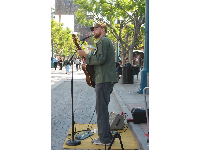 Abe Quigley performs a number on 3rd Street Promenade.