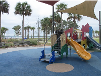 Toddler area of playground, with view of the lake.