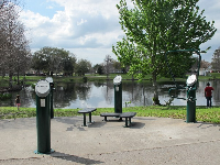 Exercise station with a pond view.