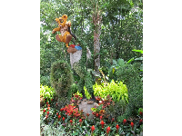 Lion King topiary during flower festival (March-May).