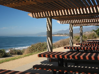 The picnic tables, atop Rincon Beach.