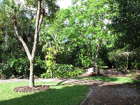 Walkway through the center of the gardens.